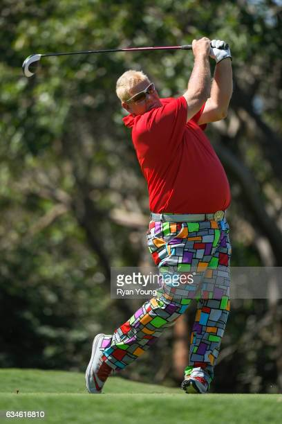 John Daly tees off on the ninth hole during the first round of the PGA TOUR Champions Allianz Championship at The Old Course at Broken Sound on...