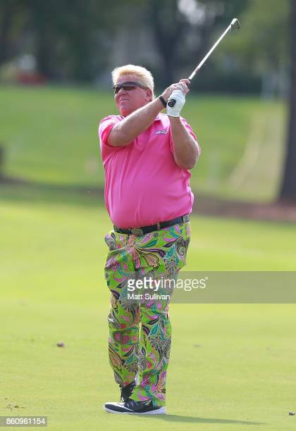 John Daly watches his second shot on the second hole during the first round of the SAS Championship at Prestonwood Country Club on October 13 2017 in...