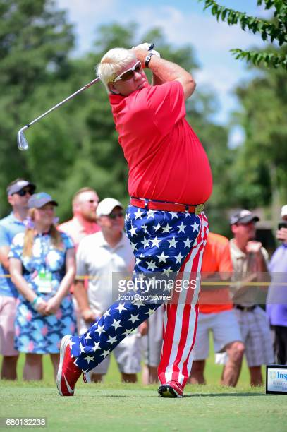 John Daly watches his tee shot on 2 during the Insperity Invitational final round play on May 07 2017 at The Woodlands Country Club The Woodlands TX