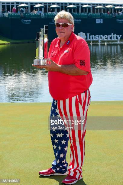 John Daly with the trophy for winning the Insperity Invitational on May 07 2017 at The Woodlands Country Club The Woodlands TX