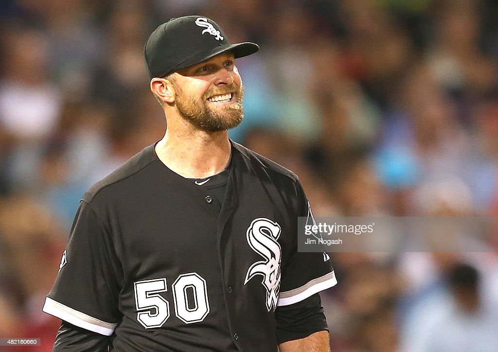 <a gi-track='captionPersonalityLinkClicked' href=/galleries/search?phrase=John+Danks&family=editorial&specificpeople=835613 ng-click='$event.stopPropagation()'>John Danks</a> #50 of the Chicago White Sox reacts against the Boston Red Sox in the fourth inning at Fenway Park on July 27, 2015 in Boston, Massachusetts.