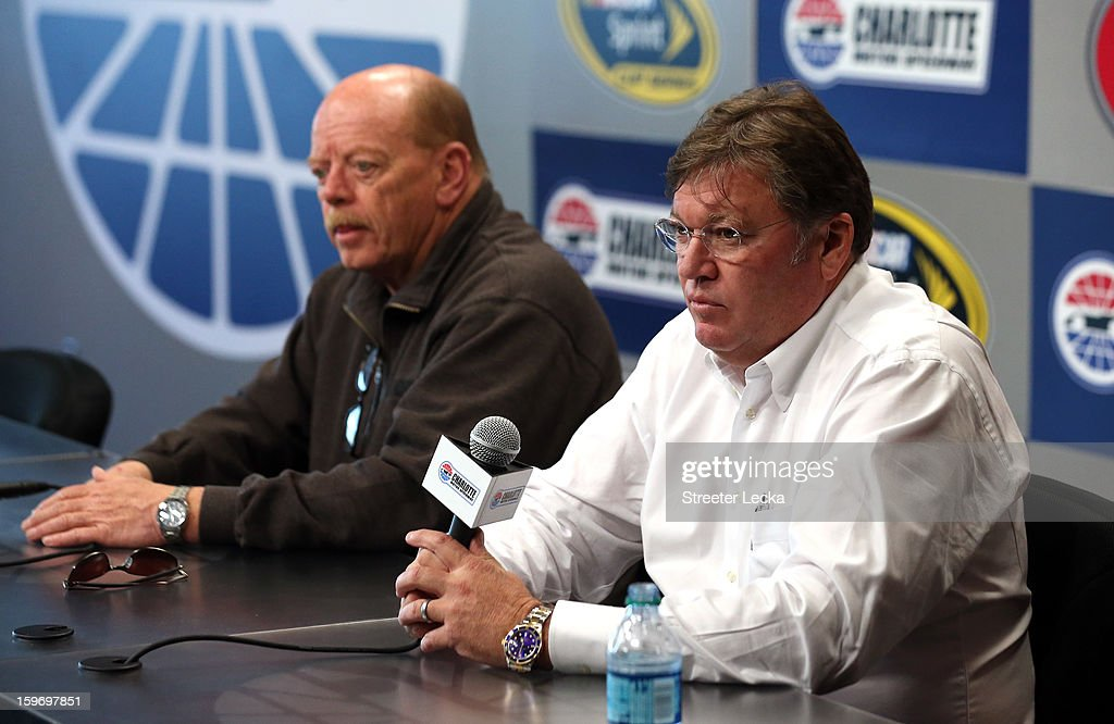 John Darby, NASCAR Sprint Cup Series Director, and Robin Pemberton, NASCAR Vice President of Competition, speak to the media during NASCAR Testing at Charlotte Motor Speedway on January 18, 2013 in Charlotte, North Carolina.