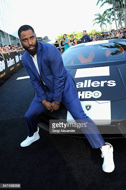 John David Washington attends the HBO Ballers Season 2 Red Carpet Premiere and Reception on July 14 2016 at New World Symphony in Miami Beach Florida