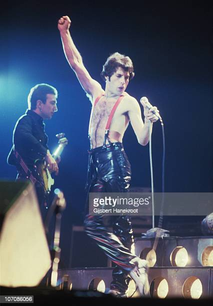 John Deacon and Freddie Mercury of Queen perform on stage at Ahoy on 29th January 1979 in Rotterdam Netherlands