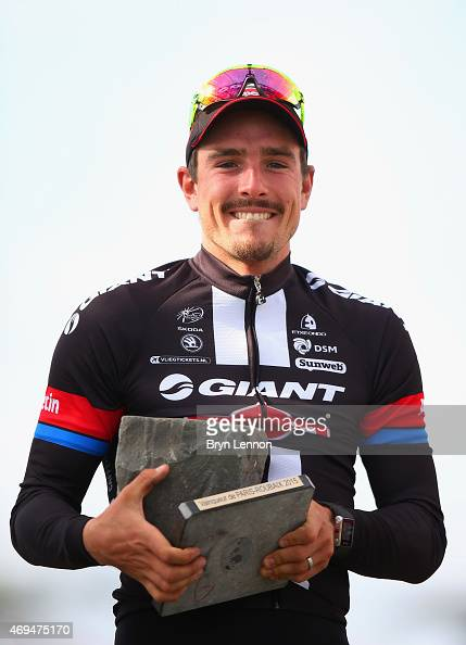 John Degenkolb of Germany and Team GiantAlpecin celebrates winning the 113th edition of the ParisRoubaix cycle race from Paris to Roubaix on April 12...