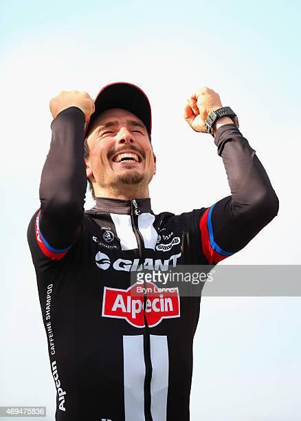 John Degenkolb of Germany and Team GiantAlpecin celebrates winning the 113th edition of the ParisRoubaix cycle race from Paris to Roubaix on April 12...