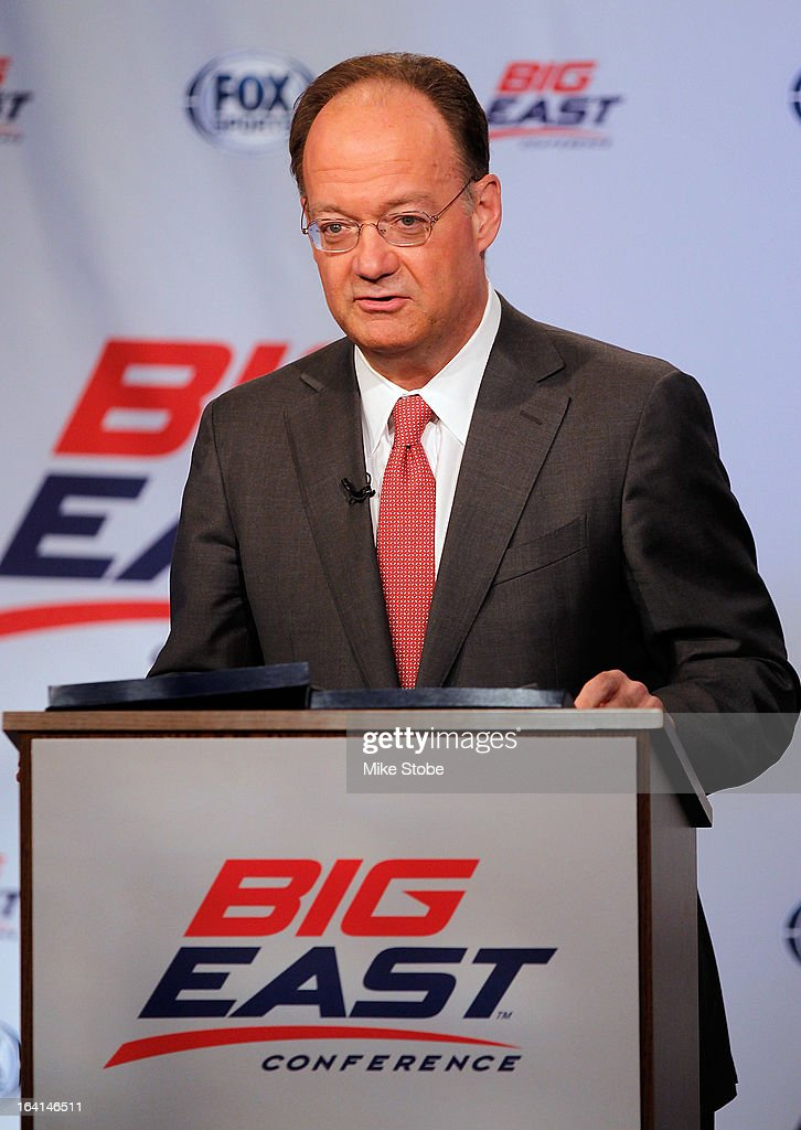 John DeGioia, President of Georgetown University, speaks to the media during the New Big East Conference & Fox Sports Media Group Press Event on March 20, 2013 in New York City.