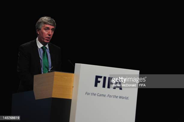 John Delaney CEO of the Football Association of Ireland speaks during the 62nd FIFA Congress at the Hungexpo on May 25 2012 in Budapest Hungary
