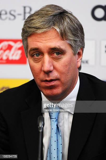John Delaney general secretary of the Irish Football Federation looks on during the DFB Press Conference about the 2014 FIFA World Cup Qualifier...