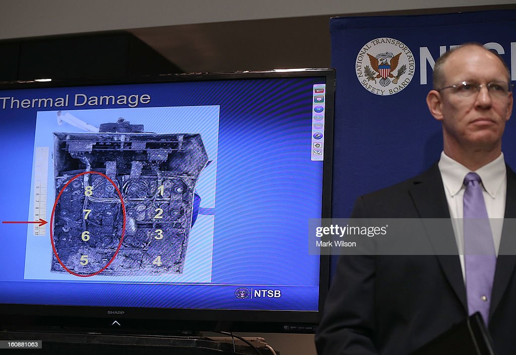 John DeLisi, director of the NTSB Office of Aviation Safety, participates in a news conference at NTSB Headquarters, on February 7, 2013 in Washington, DC. The news conference was held to give a update on the NTSB investigation into the January 7 fire that occurred on a Japan Airlines Boeing 787 at Logan International Airport in Boston.
