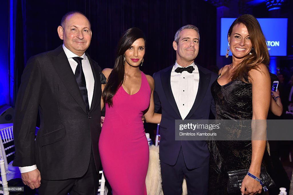 John Demsey Padma Lakshmi Andy Cohen and Kelly Bensimon attends he 2016 amfAR New York Gala at Cipriani Wall Street on February 10 2016 in New York...