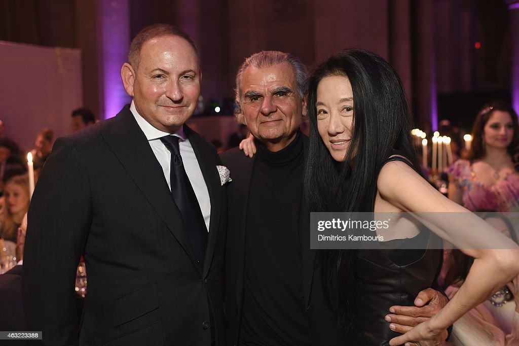John Demsey Patrick Demarchelier and Vera Wang attend the 2015 amfAR New York Gala at Cipriani Wall Street on February 11 2015 in New York City