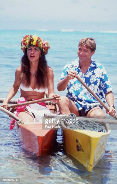 John Denver with Australian actress Cassandra Delaney who he married in 1988 at the Bob Hope TV special called ' Bob Hopes Tropical Comedy from...