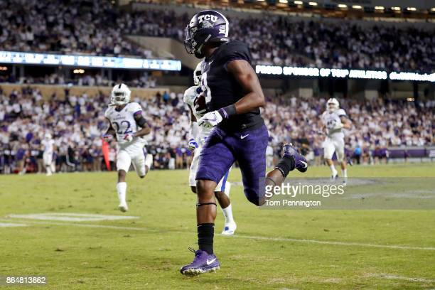 John Diarse of the TCU Horned Frogs scores a touchdown against the Kansas Jayhawks in the first half at Amon G Carter Stadium on October 21 2017 in...