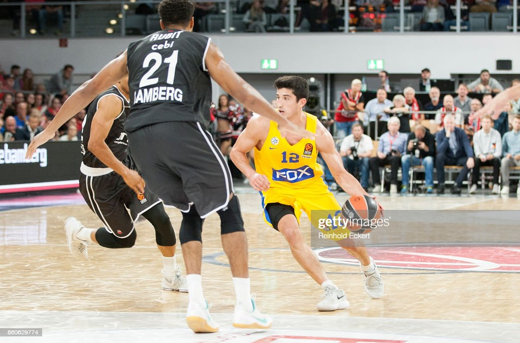 John Dibartolomeo, #12 of Maccabi Fox Tel Aviv in action during the 2017/2018 Turkish Airlines EuroLeague Regular Season Round 1 game between Brose Bamberg v Maccabi Fox Tel Aviv at Brose Arena on October 12, 2017 in Bamberg, Germany.