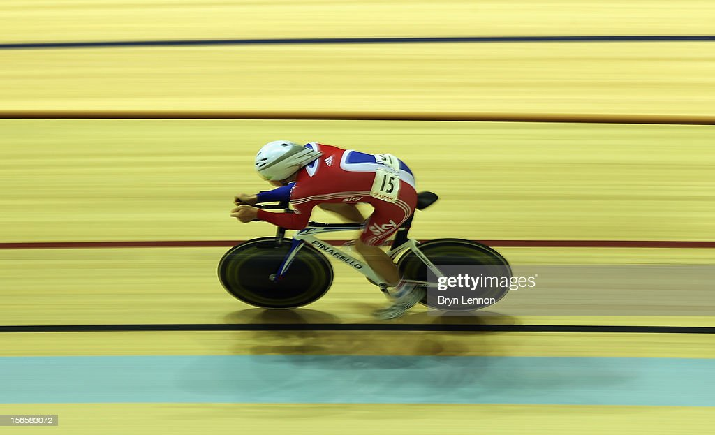 John Dibbon of Great Britain in action during the Men's Omnium 4km Indiviual Pursuit race on day two of the UCI Track Cycling World Cup at Sir Chris Hoy Velodrome on November 17, 2012 in Glasgow, Scotland.