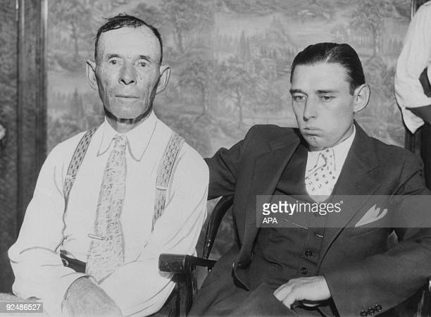 John Dillinger Snr with his son Hubert Dillinger in Chicago to claim the body of his son the outlaw John Dillinger who had been shot and killed by...