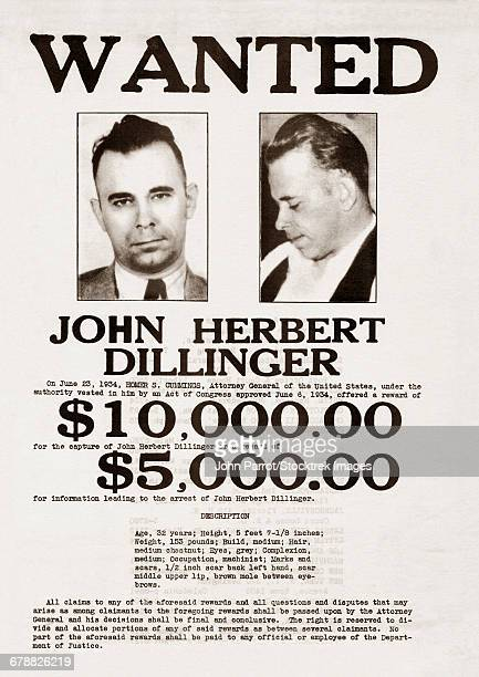 A John Dillinger wanted poster.