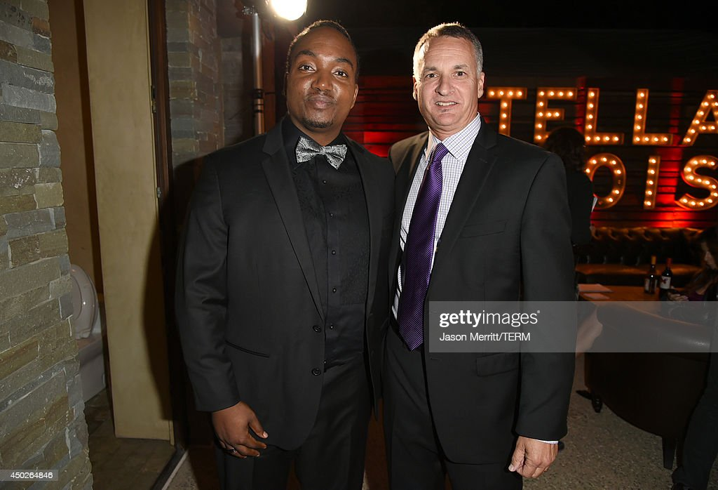 John Dillon Award Recipient Darius Coffey (L) and Chrysalis President and CEO Mark Loranger inside the 13th Annual Chrysalis Butterfly Ball sponsored by Audi, Kayne Anderson and Stella Artois in Los Angeles, California on June 7th, 2014.