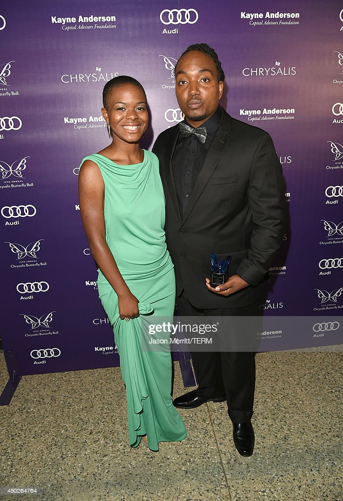 John Dillon Award recipient Darius Coffey (R) and daughter Leela Coffey inside the 13th Annual Chrysalis Butterfly Ball sponsored by Audi, Kayne Anderson and Stella Artois in Los Angeles, California on June 7th, 2014.