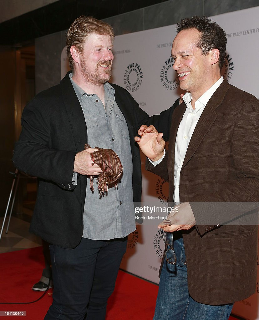 John DiMaggio (L) and <a gi-track='captionPersonalityLinkClicked' href=/galleries/search?phrase=Diedrich+Bader&family=editorial&specificpeople=2315941 ng-click='$event.stopPropagation()'>Diedrich Bader</a> attend 'An Evening With Batman: The Brave And The Bold'presented by the Paley Center For Media at Paley Center For Media on October 11, 2013 in New York City.