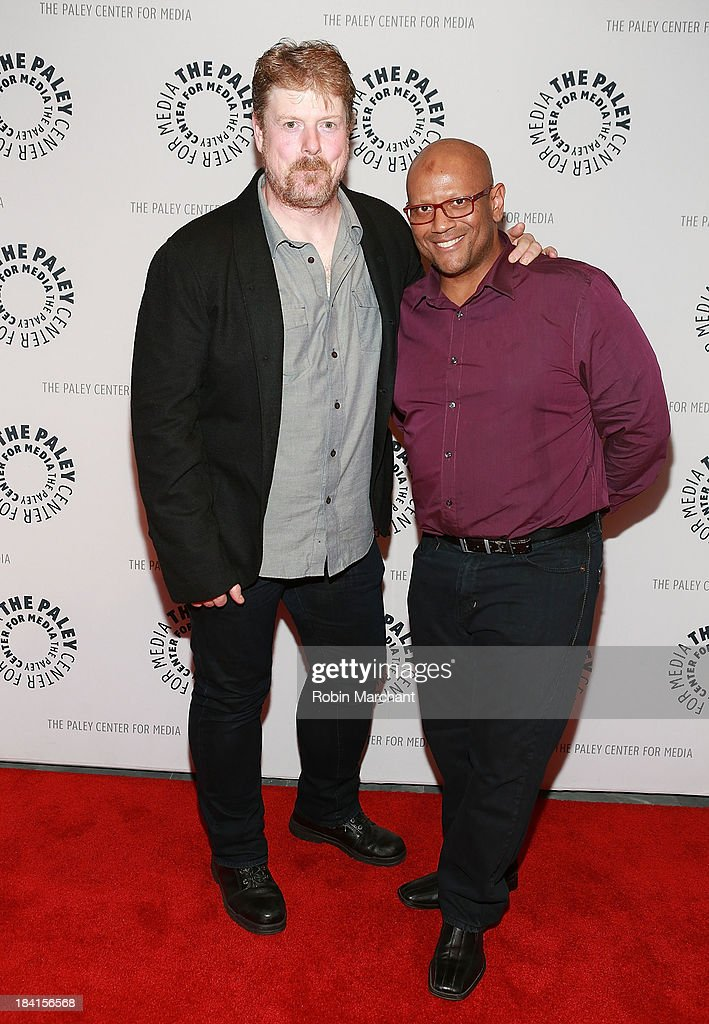 John DiMaggio (L) and James Tucker attend 'An Evening With Batman: The Brave And The Bold'presented by the Paley Center For Media at Paley Center For Media on October 11, 2013 in New York City.