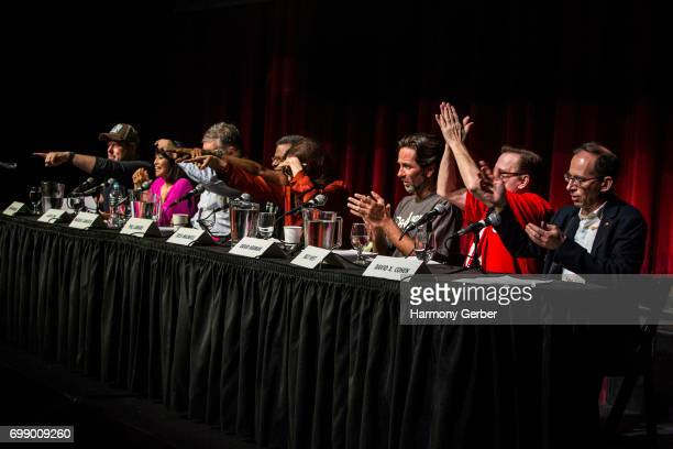 John Dimaggio David X Cohen David Herman Lauren Tom Tress MacNeille Phil LaMarr Maurice LaMarche and Billy West speak at the Q A panel at the Launch...