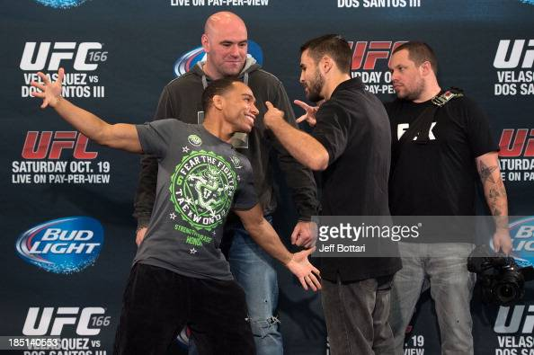 John Dodson and Darrell Montague face off in front of UFC President Dana White for the media during the UFC 166 Ultimate Media Day at the Toyota...