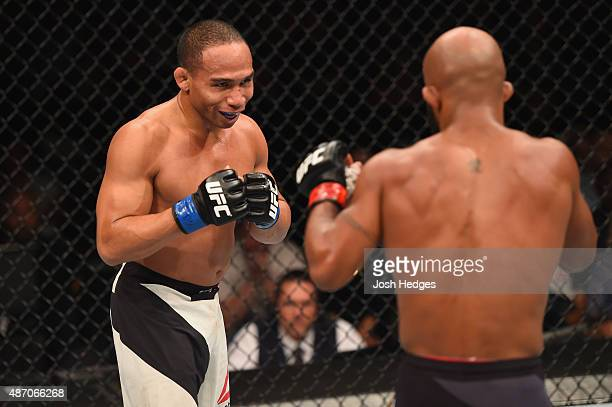 John Dodson faces off with Demetrious Johnson in their flyweight championship bout during the UFC 191 event inside MGM Grand Garden Arena on...