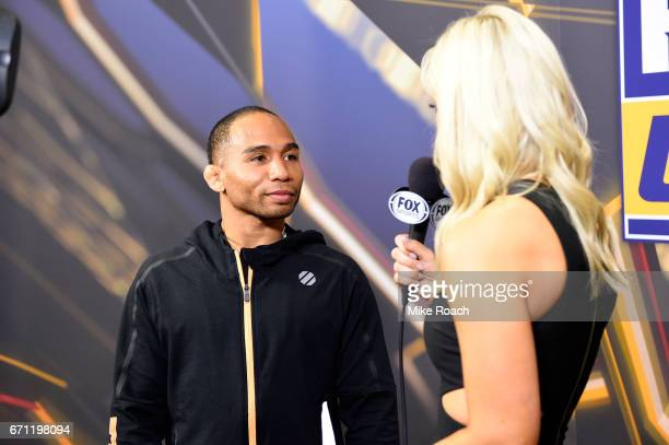 John Dodson is interviewed backstage during the UFC Fight Night weighin at the Sheraton Music City Hotel on April 21 2017 in Nashville Tennessee