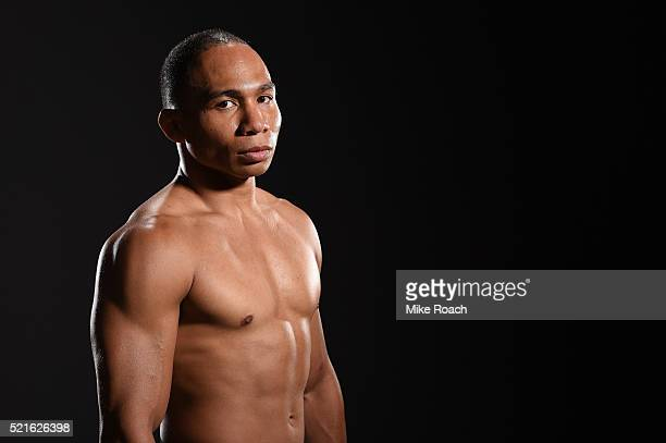 John Dodson poses for a portrait backstage during the UFC Fight Night event at Amalie Arena on April 16 2016 in Tampa Florida