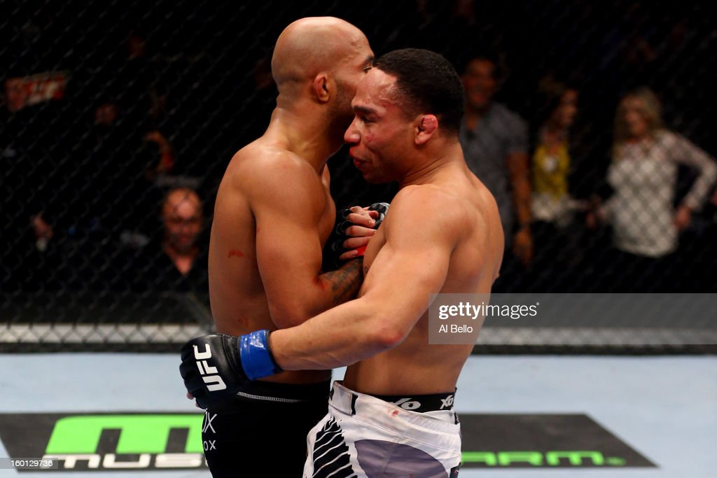 John Dodson (R) shakes hands with Demetrious Johnson (L) after thier Flyweight Championship Bout part of UFC on FOX at United Center on January 26, 2013 in Chicago, Illinois.