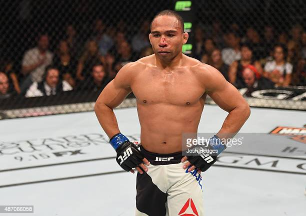 John Dodson walks back to his corner during his flyweight championship bout during the UFC 191 event inside MGM Grand Garden Arena on September 5...