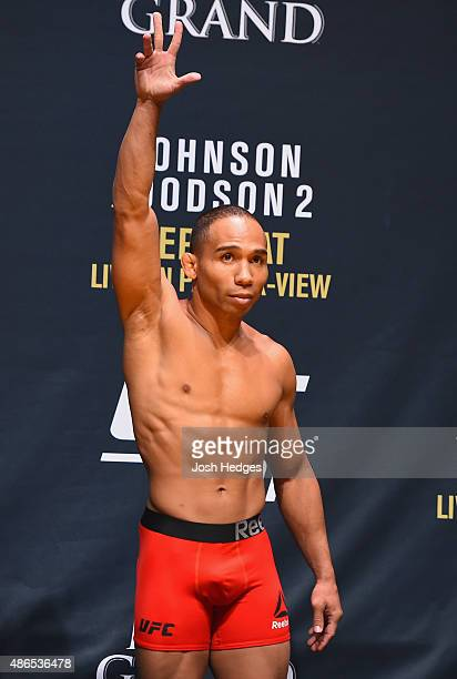 John Dodson waves to the fans during the UFC 191 weighin inside MGM Grand Garden Arena on September 4 2015 in Las Vegas Nevada