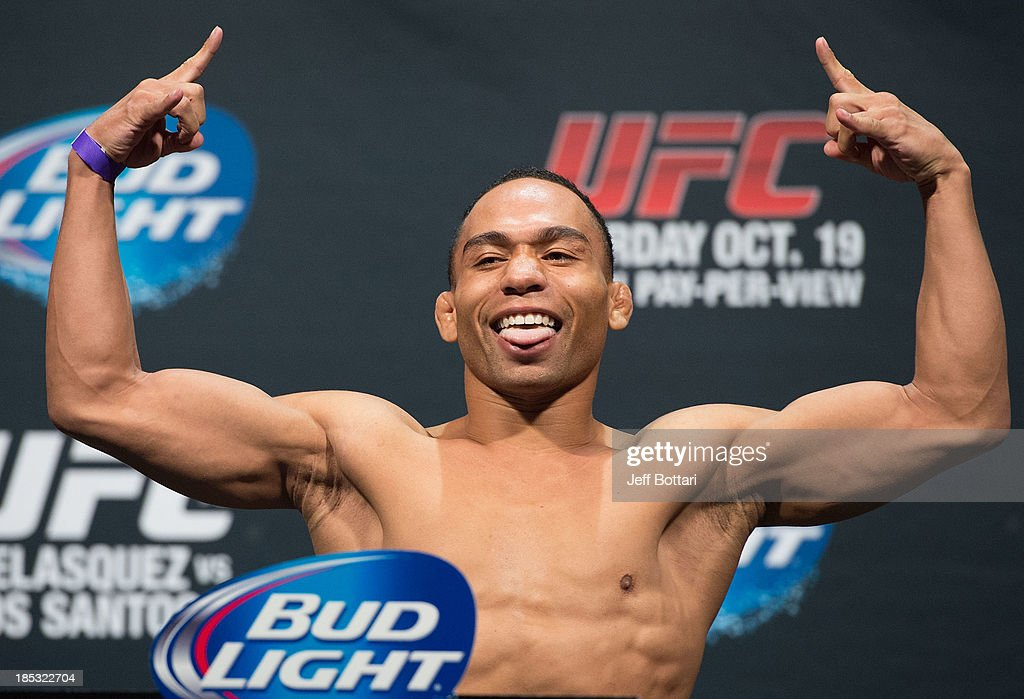 John Dodson weighs in during the UFC 166 weigh-in at the Toyota Center on October 18, 2013 in Houston, Texas.