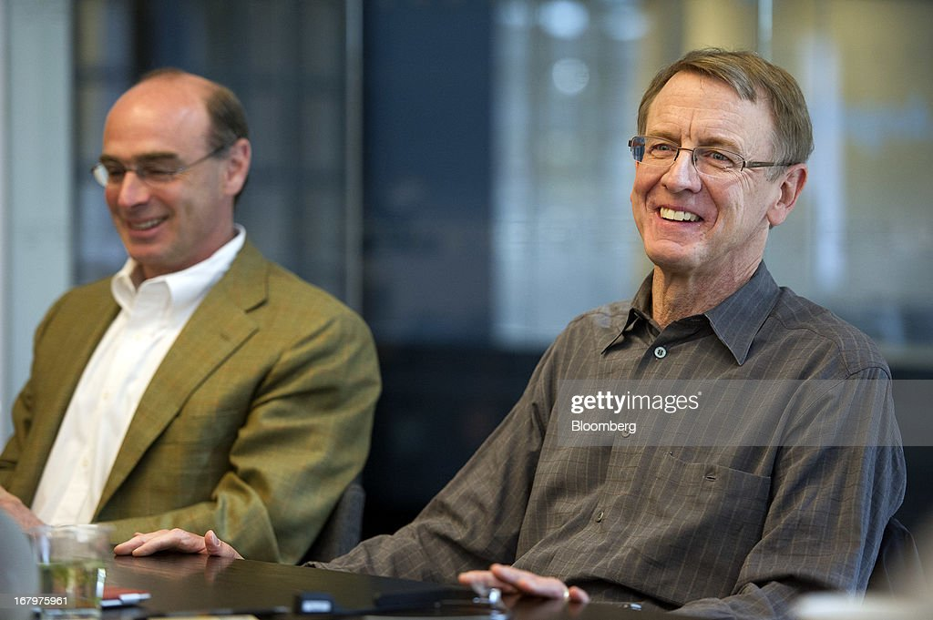 John Doerr, a senior partner with Kleiner Perkins Caufield & Byers, right, speaks as Ted Schlein, a managing partner at Kleiner Perkins Caufield & Byers, listens during an interview in San Francisco, California, U.S., on Friday, May 3, 2013. Google Inc. has called on venture capital heavyweight Kleiner Perkins Caufield & Byers to spur creation of software for Google Glass, its wearable mobile-computing devices that resemble spectacles. Photographer: David Paul Morris/Bloomberg via Getty Images
