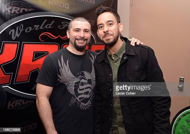 John Dolmayan of System of a Down and musician Mike Shinoda of Linkin Park are interviewed backstage during Night 1 of KROQ's Acoustic Christmas at...
