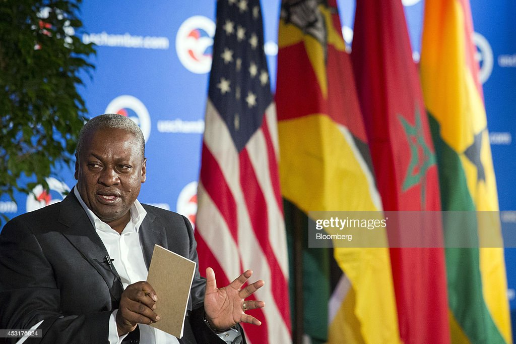 <a gi-track='captionPersonalityLinkClicked' href=/galleries/search?phrase=John+Dramani+Mahama&family=editorial&specificpeople=6829053 ng-click='$event.stopPropagation()'>John Dramani Mahama</a>, president of Ghana, speaks at the U.S. Chamber of Commerce in Washington, D.C., U.S., on Monday, Aug. 4, 2014. The chamber and Investec Asset Management (IAM) are releasing a joint report today on the ways U.S.-Africa engagement can deepen and improve. Photographer: Drew Angerer/Bloomberg via Getty Images