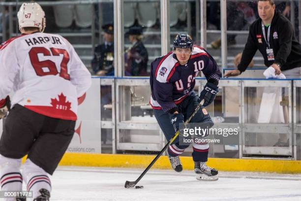 John Dunbar of Team USA looks for options during the Melbourne Game of the Ice Hockey Classic on June 24 2017 held at Hisence Arena Melbourne...