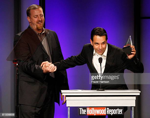 John Duncan and Tomy Drissi accept the Best Theatrical Standee Award for 'The Simpsons Movie' during The Hollywood Reporter's 37th Annual Movie...