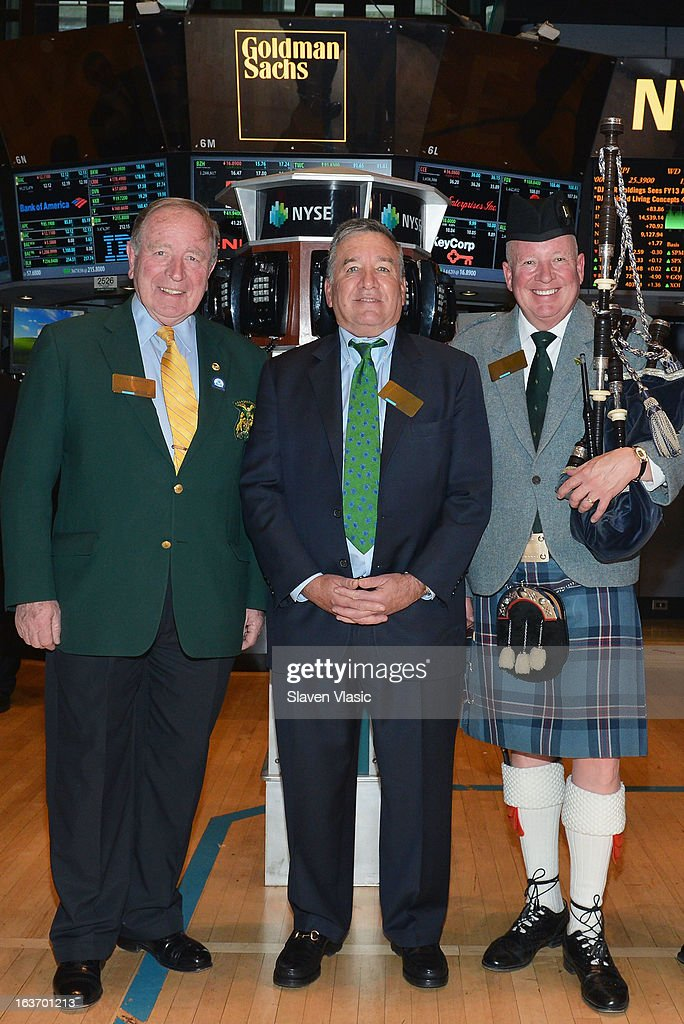 John Dunleavy, Alfred E. Smith IV, Grand Marshal of the 252nd St. PatrickÕs Day Parade and Joe Brady visit the trading floor of the New York Stock Exchange in honor of St. PatrickÕs Day on March 14, 2013 in New York City.