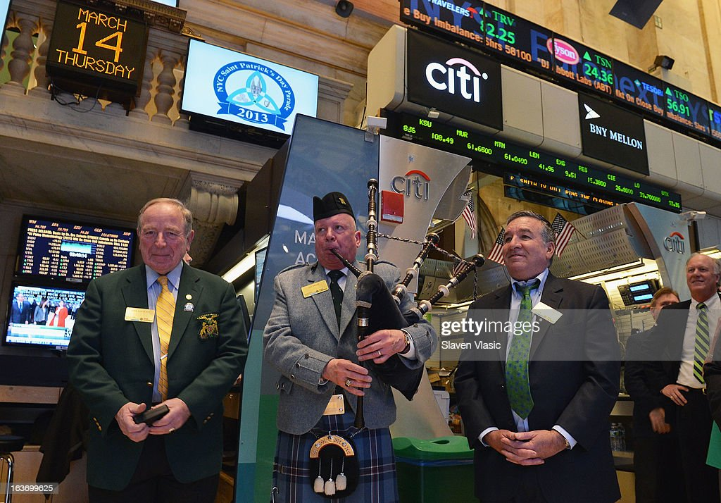 John Dunleavy, Joe Brady and Alfred E. Smith IV, Grand Marshal of the 252nd St. PatrickÕs Day Parade visit the trading floor at the New York Stock Exchange in honor of St. PatrickÕs Day on March 14, 2013 in New York City.