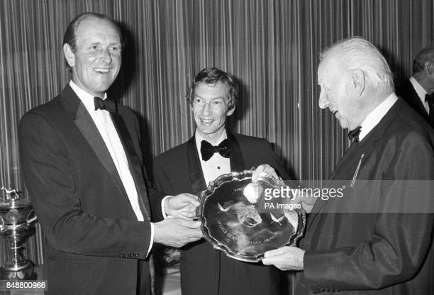 John Dunlop trainer of Lord Halifax's Shirley Heights which won the 1978 Derby at Epsom receives the Double Century Award at the International Press...