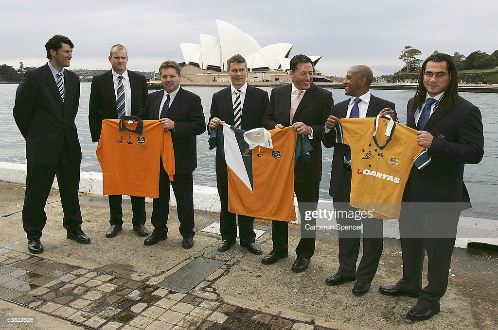 John Eales Richard Harry Andrew Blades Jason Smith Phil Kearns George Gregan and George Smith who were named in the Wallaby Team of the Decade pose...