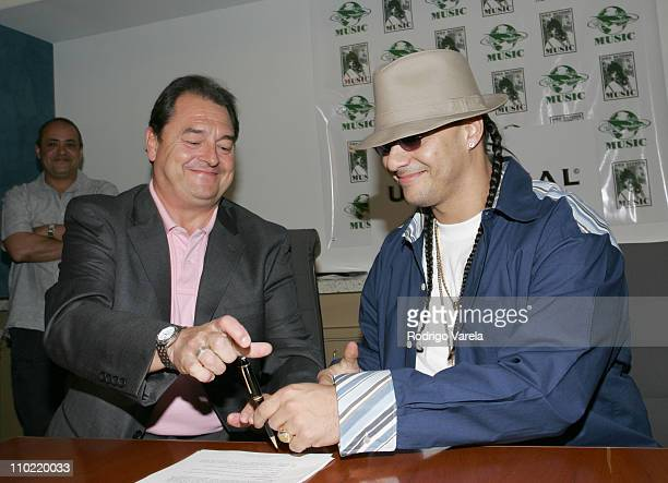 John Echevarria and Don Dinero during Don Dinero Signs a Contract with Universal Music at Universal Music Offices in Miami Beach Florida United States