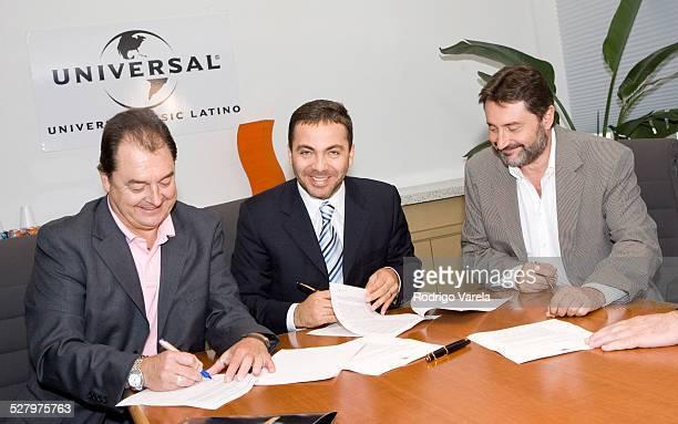 John Echevarria president of Universal Music Latin Cristian Castro and Jesus Lopez chairman of Universal Music Latin America
