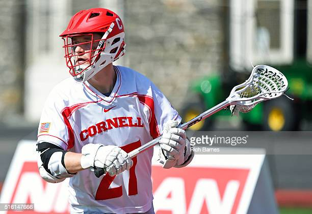 John Edmonds of the Cornell Big Red controls the ball against the Virginia Cavaliers during the second quarter at Schoellkopf Field on March 12 2016...