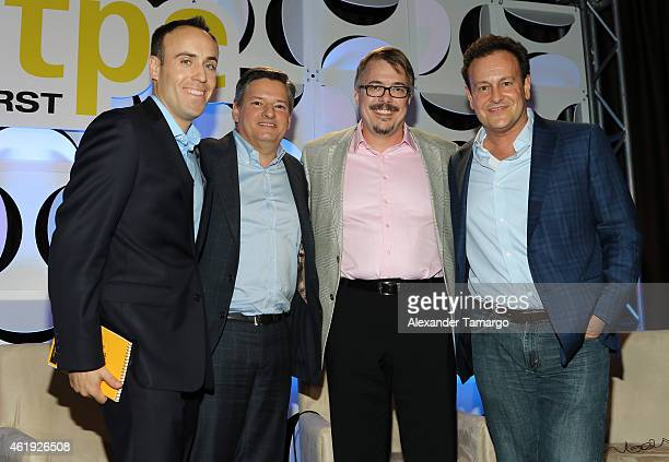 John Ehrlichman Ted Sarandos Vince Gilligan and Mitchell Hurwitz attend NATPE 2015 at Fontainebleau Miami Beach on January 21 2015 in Miami Beach...