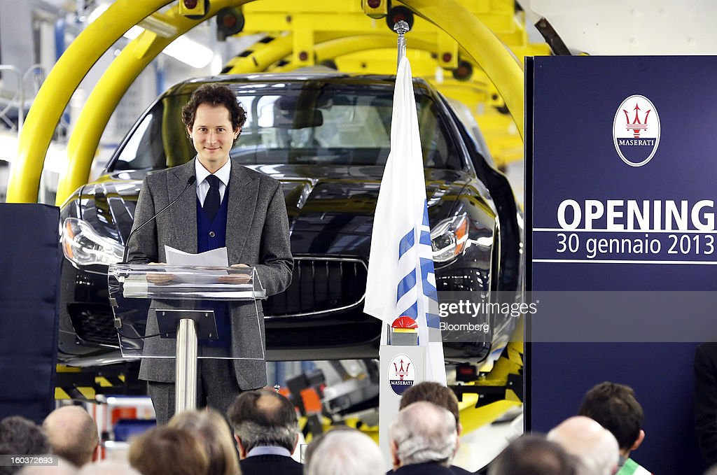 John Elkann, chairman of Fiat SpA, pauses during the inauguration of Maserati's Grugliasco factory in Turin, Italy, on Wednesday, Jan. 30, 2013. Fiat SpA Chief Executive Officer Sergio Marchionne said the Italian carmaker narrowed losses in Europe in the fourth quarter, helping it achieve full-year earnings that were in line with its forecasts. Photographer: Alessia Pierdomenico/Bloomberg via Getty Images