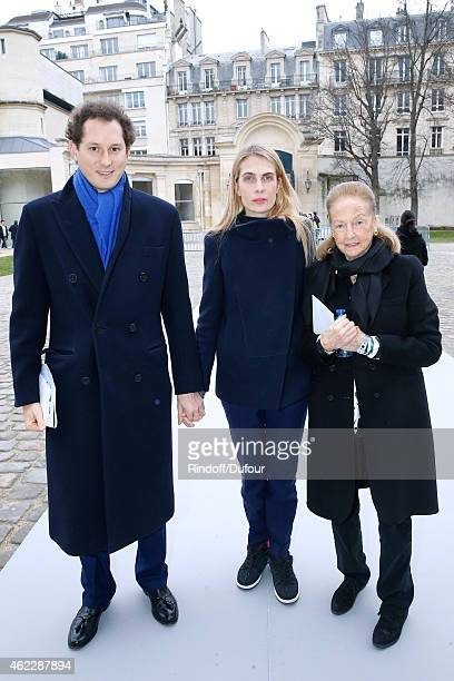 John Elkann his wife Lavinia Elkann and Doris Brynner attend the Christian Dior show as part of Paris Fashion Week Haute Couture Spring/Summer 2015...